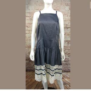 Ann Taylor Dress Size 14 Chambray Lace Blue White